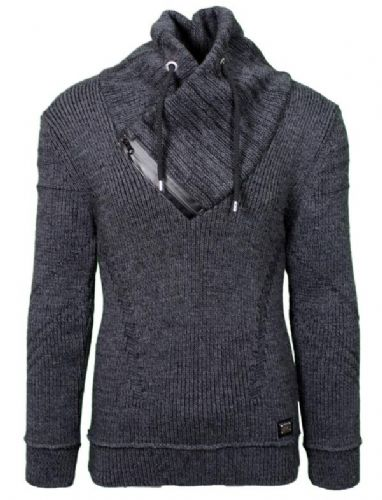 Fargo Designer Cable Cowl Neck Jumper zip and Draw String Black Charcoal